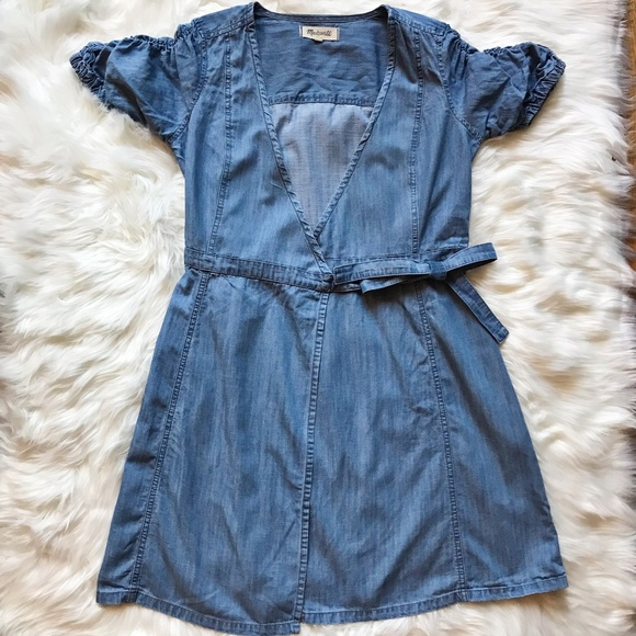 Madewell Dresses & Skirts - Madewell Light Denim Wrap Dress Size XS